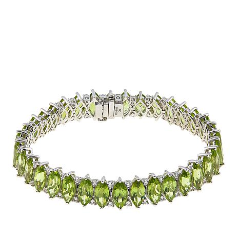"""Colleen Lopez 35.7ctw Marquise Peridot and White Topaz 7-1/2"""" Bracelet"""
