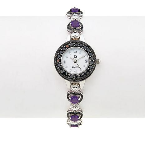 Colleen Lopez 6.96ctw Amethyst and Black Spinel Heart Bracelet Watch