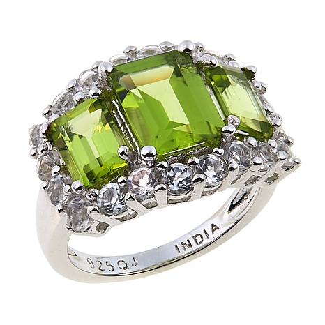 Colleen Lopez 6ctw Peridot and White Topaz 3-Stone Ring