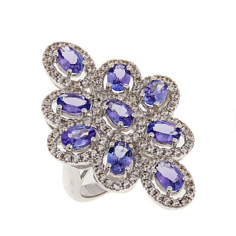 Colleen Lopez 6ctw Tanzanite and Zircon Cocktail Ring