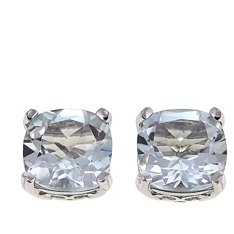 Exclusive Colleen Lopez 7 08ctw Cushion Cut White Topaz Stud Earrings