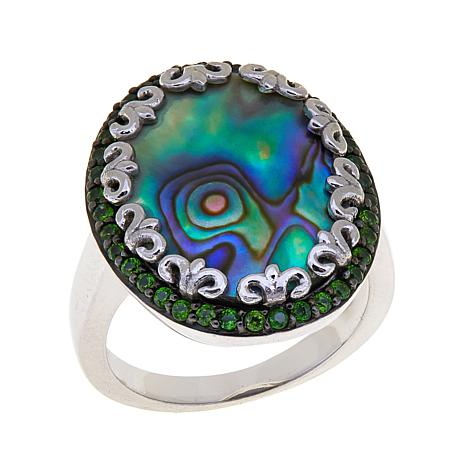 Colleen Lopez Abalone and Chrome Diopside Ring