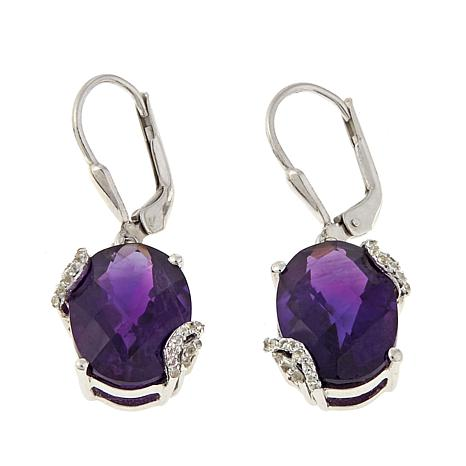 Colleen Lopez African Amethyst and White Topaz Drop Earrings