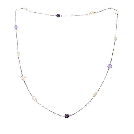 "Colleen Lopez Baroque Cultured Freshwater Pearl and Gem 38"" Necklace"