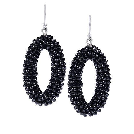 Colleen Lopez Black Spinel Beaded Drop Earrings