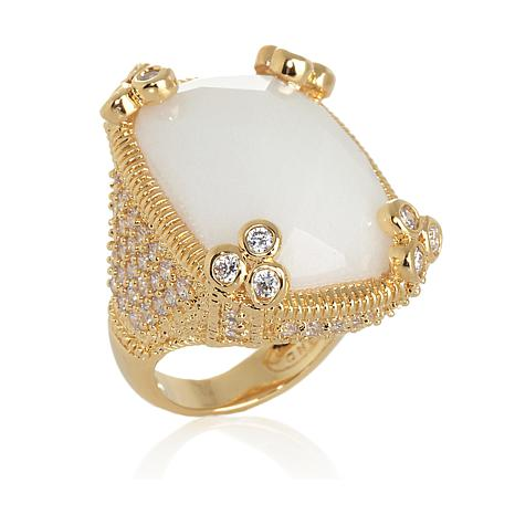 Colleen Lopez Checkerboard-Cut Stone and CZ Goldtone Pavé Ring
