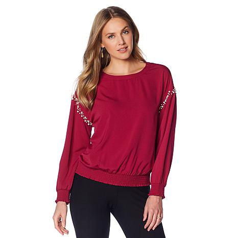Colleen Lopez Elevated Ease Faux Pearl-Trimmed Top