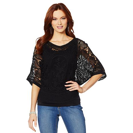 Colleen Lopez Embroidered Crochet Dolman Top