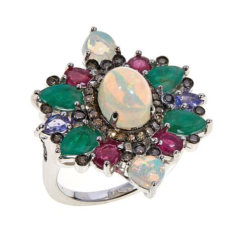 Colleen Lopez Ethiopian Opal, Diamond and Gem Ring