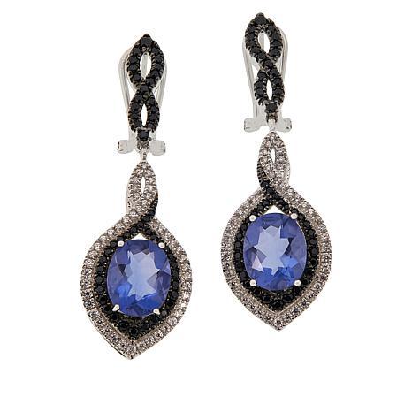 Colleen Lopez Fluorite, Black Spinel and White Zircon Dangle Earrings