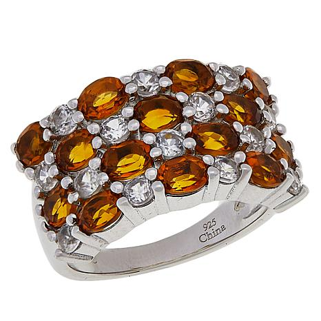 Colleen Lopez Gemstone and White Zircon 4-Row Band Ring