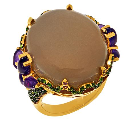Colleen Lopez Gold-Plated Moonstone, Chrome Diopside and Amethyst Ring