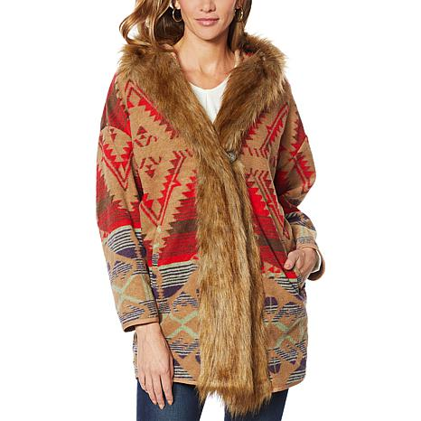 Colleen Lopez Hooded Southwest Print Coat with Faux Fur Trim