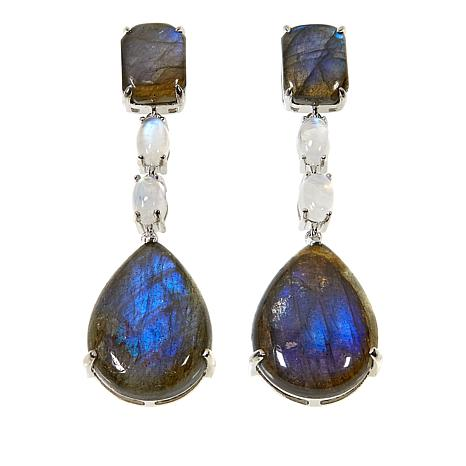 Colleen Lopez Labradorite and Moonstone Sterling Silver Drop Earrings