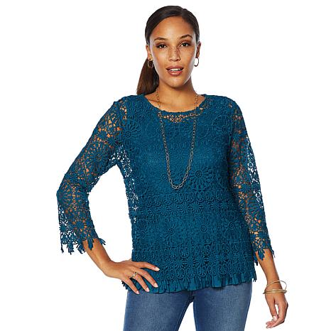 Colleen Lopez Lace Top with Pleated Tank