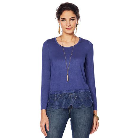 Colleen Lopez Long-Sleeve Jersey Top with Lace Sweep