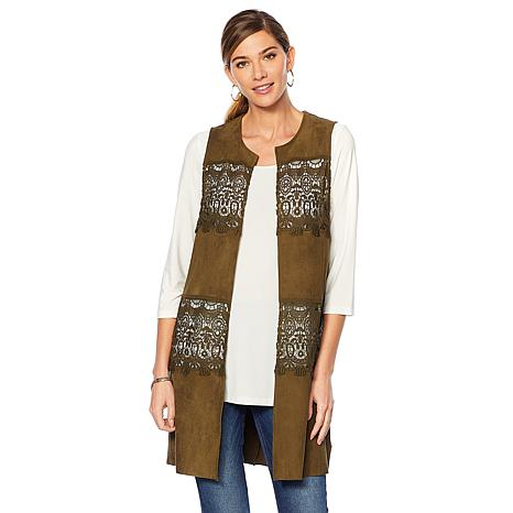 Colleen Lopez Lovely Lace Faux Suede Vest