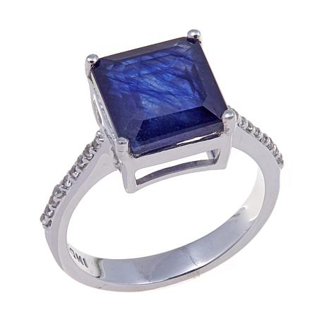Colleen Lopez Octagonal Sapphire and White Zircon Ring