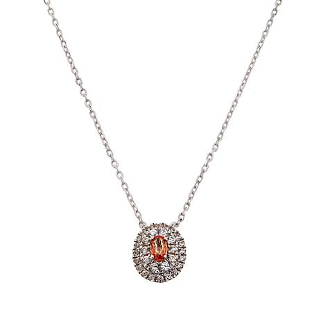 Colleen Lopez Padparadscha Sapphire and White Zircon Necklace