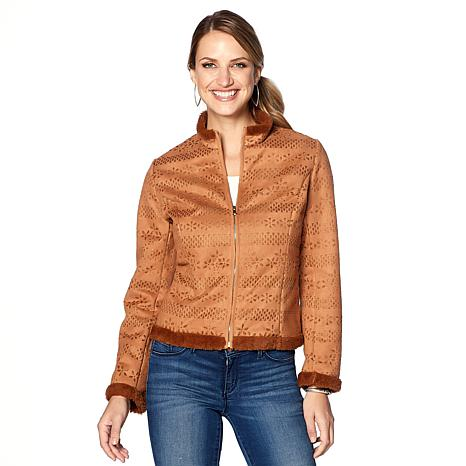 Colleen Lopez Perforated Faux Suede Jacket