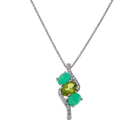 Colleen Lopez Peridot and Chrysoprase Pendant w/Chain