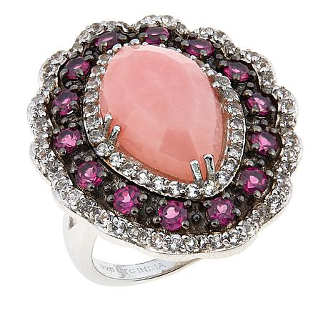 Colleen Lopez Pink Opal, Rhodolite and White Topaz Ring