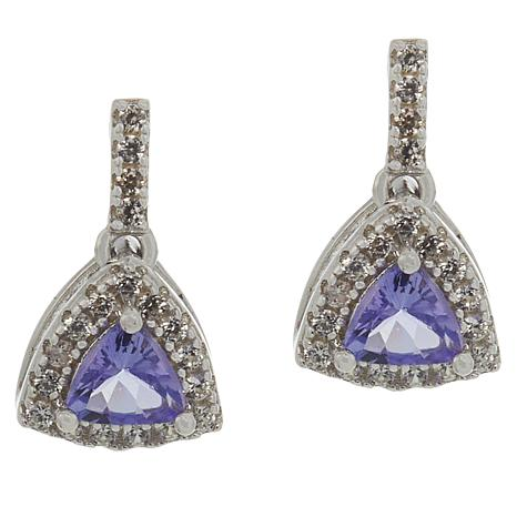 Colleen Lopez Purple Tanzanite & White Zircon Trilliant Drop Earrings