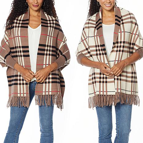 Colleen Lopez Reversible Plaid Knit Topper with Fringe