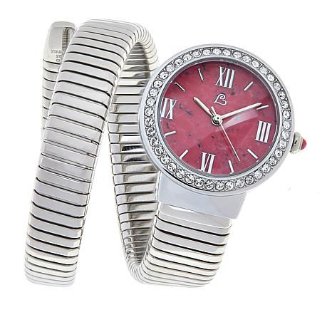 Colleen Lopez Round Gemstone Dial Coil Wrap Bracelet Watch