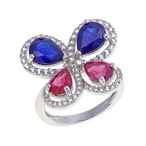 Colleen Lopez Ruby and Sapphire Butterfly Ring