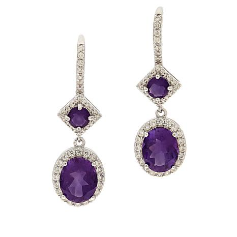 Colleen Lopez Sterling Silver Amethyst and White Zircon Drop Earrings