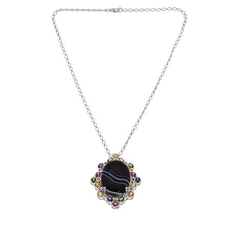 Colleen Lopez Sterling Silver Black Agate and Multi-Gem Pendant/Chain