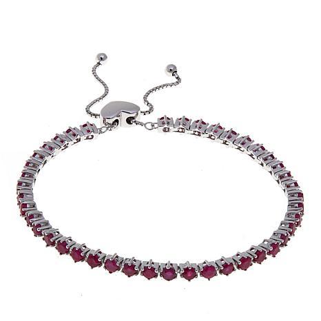 Colleen Lopez Sterling Silver Burmese Ruby Adjustable Bracelet