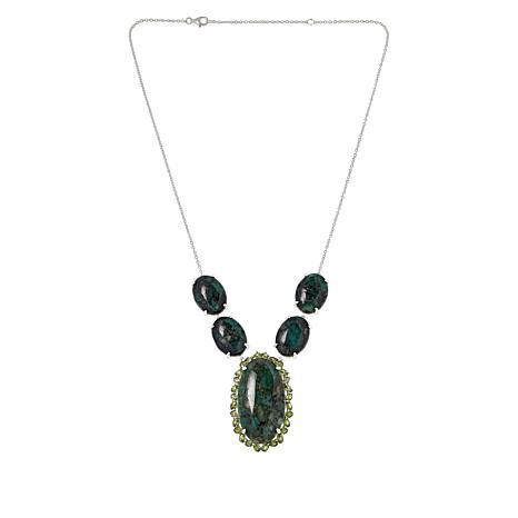 Colleen Lopez Sterling Silver Emerald and Demantoid Garnet Necklace