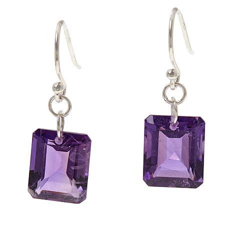 Colleen Lopez Sterling Silver Emerald-Cut Gemstone Drop Earrings