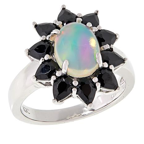 Colleen Lopez Sterling Silver Ethiopian Opal and Black Spinel Ring