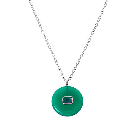 Colleen Lopez Sterling Silver Green Onyx and Amethyst Necklace
