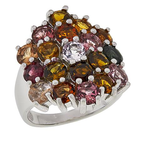Colleen Lopez Sterling Silver Multicolor Tourmaline Cluster Ring