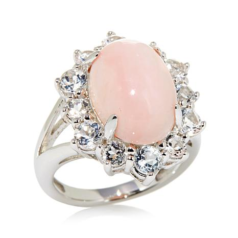 Colleen Lopez Sterling Silver Oval Pink Opal and White Topaz Ring