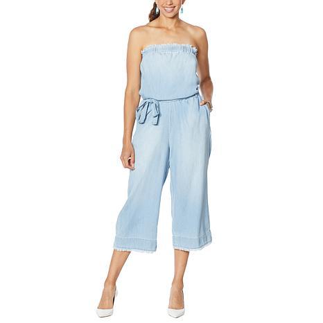 Colleen Lopez Strapless Denim Jumpsuit with Belted Waist