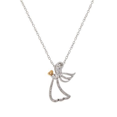 Colleen Lopez Two-Tone .09ctw Diamond Angel Pendant with Chain