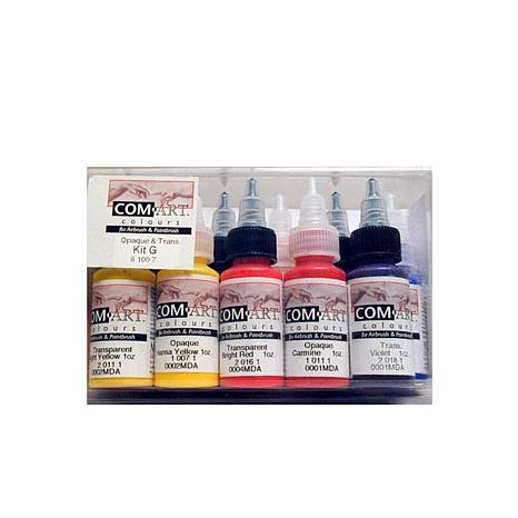 COM-ART Opaque and Transparent Airbrush 10-Color Kit