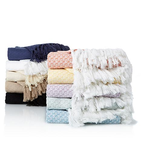 Concierge 100% Cotton Yarn-Dyed Throw with Fringe