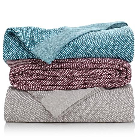 Concierge Collection 100% Cotton Yarn-Dyed Blanket