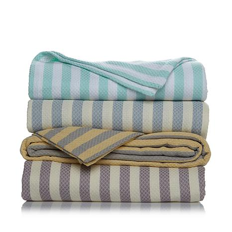 Concierge Collection Stripe 100% Cotton Blanket