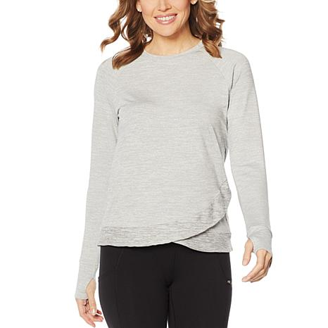 Copper Fit™ Cross-Front Long-Sleeve Top with Thumb Holes