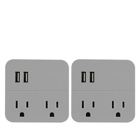 Cordinate 2-pack 2 Outlets 2 USB Ports Wall Tap