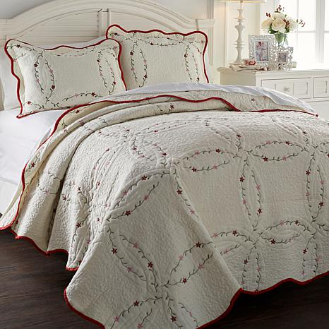 Cottage Wedding Ring 100% Cotton 3pc Quilt Set