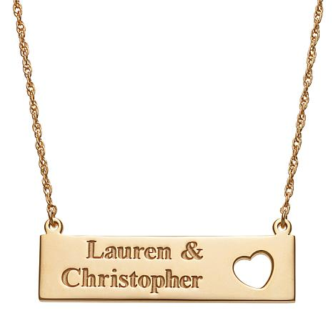 Couple's Names Open Heart Bar Necklace