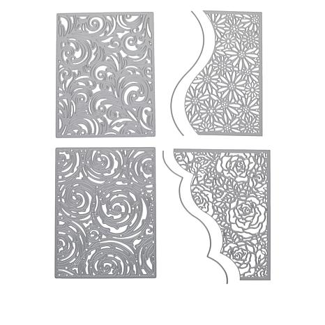 Crafter's Companion Gemini Create-A-Card Floral and Swirl Die Set 4pk
